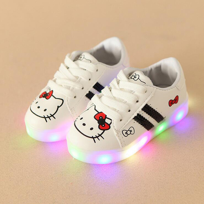 2020 Cartoon Infant Tennis Beautiful Baby Girls Shoes Hot Sales LED Lighted Fashion Children Sneakers Lace Up Cute Kids Shoes