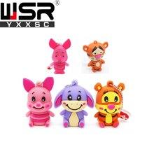 Cute cartoon character usb2.0 pen drive 32gb 64gb cute pig/bear/tiger usb flash 4gb  8gb 16gb best children computer gift