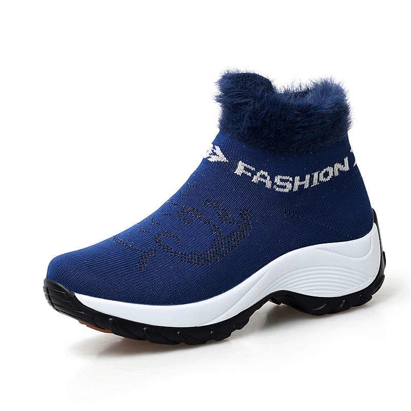 נשים מגפי שלג חם קטיפה חורף מגפי טריז פלטפורמת קרסול מגפי נשים נעליים להחליק על נשים פרווה גרב נעלי גודל גדול