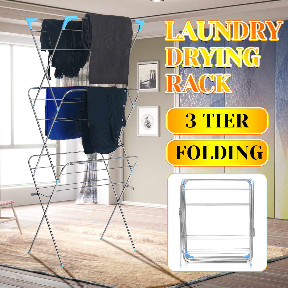 Three Layers Floor-Standing Clothes Drying Rack Hangers Foldable Clothes Airer Iron Durable Clothes Drying Airer Rack Home Decor