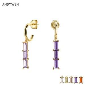 ANDYWEN 925 Sterling Silver Purple Long Line Circle Hoops Women Slim Dangle Charm Crystal CZ Huggies Piercing Round Jewelry