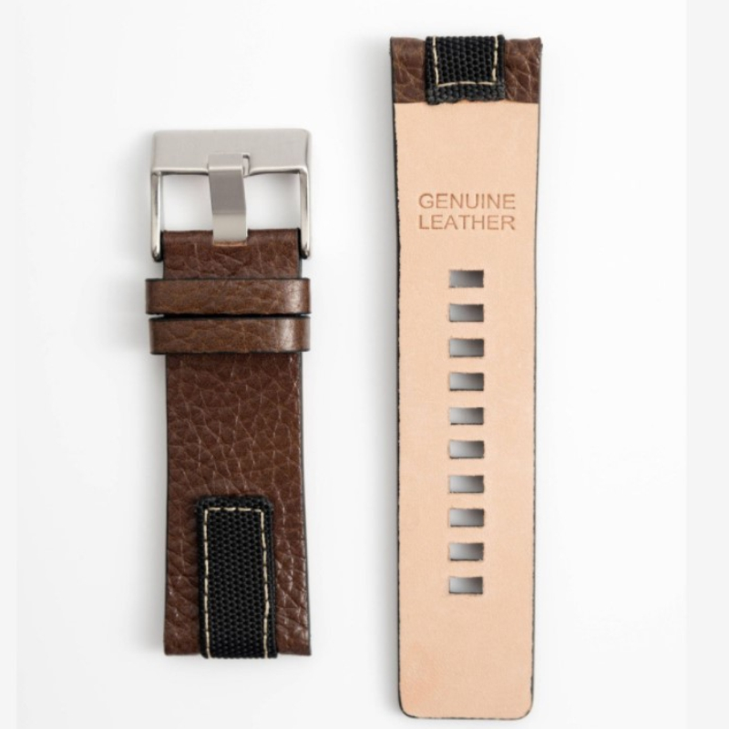 26mm high quality denim and leather strap for Diesel DZ4345 watch strap band bracelet with buckle brown leather chain