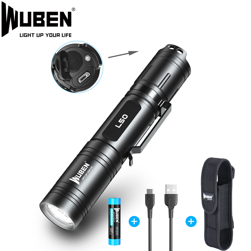 Wuben Led Flashlight Super Bright Outdoor Light 18650 Battery Waterproof IPX8 Mini Flash Light With Holster Pouch for Camping