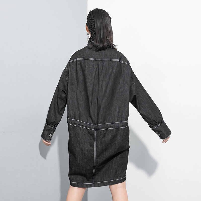 XITAO асимметричное платье на шнурке женское Модное Новое платье с отложным воротником с завышенной талией и прямым карманом в стиле пэчворк, платье в стиле миноритари GCC2121