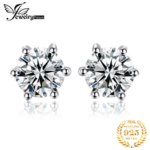 High Quality Natural White Topaz Round Stone Earrings 100% Real Pure 925 Sterling Silver Stud Girl Fabulous Gift Fashion Jewelry