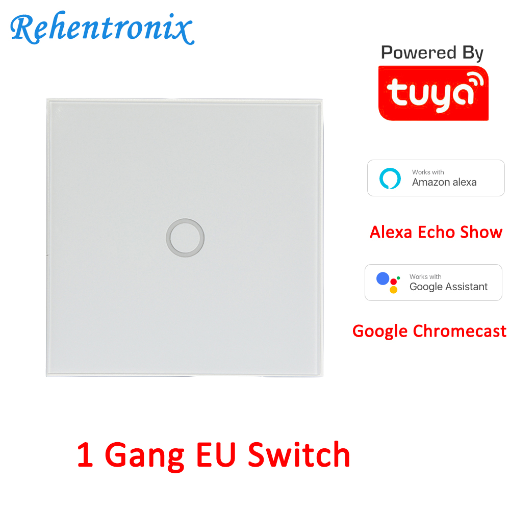 EU 1 Gang Touch Switch Wireless WiFi Smart Home Remote APP Control Alexa Google Home Voice Control Touch Switch TUYA POWERED