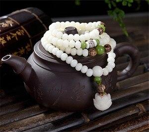 Image 2 - Original Design Natural White Bodhi Root Beads Bracelet Lotus 108 Lotus Mala Healing Prayer Bracelet for Women Jewelry Gift