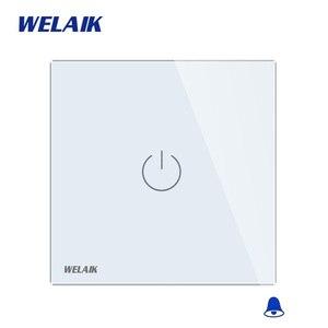 Image 2 - Welaik хрусталя панели переключателя белый настенный выключатель ЕС дверной звонок сенсорный выключатель света 1Gang1Way AC110 ~ 250 В a1911MLCW/b