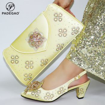 African Women Shoes and Bag Set in Golden Color High Quality African Lady Shoes Matching Hand Bag Comfortable for Party