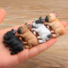 Resin French Bulldog Figurine Cute Small Lying Dog Model Miniatures for Refrigerator Home Decor C