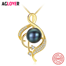 AGLOVER 925 Silver Necklace Gold Colour Pearl Pendant Zircon Inlay Natural Freshwater Pearl Jewelry Link Women Lady Gift Party