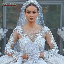 2021 Champagne Sang Trọng Chiếu Trúc Hạt Ren áo Cưới Sáng Bóng Nhà Thờ Chính Tòa tàu váy cưới