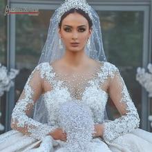 2021 الشمبانيا الفاخرة الخرز الدانتيل فستان الزفاف لامعة كاتدرائية ذيل ثوب زفاف