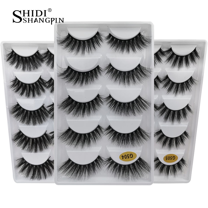 SHIDISHANGPIN 5 Pairs Faux Mink Hair Lashes 3d Natural Long False Eyelashes Eye Makeup Tool Minks Eyelashes Extension Eyelash
