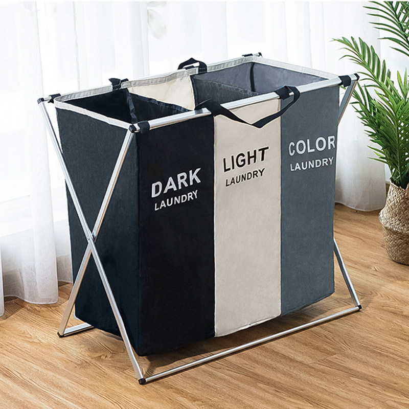 Large Foldable Dirty Clothes Storage Basket Storage Bag Three Grid Home Hamper Basket Hamper Classification Laundry Basket