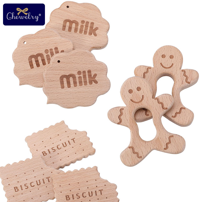1pc Baby Wooden Teether Pendant Beech Wood Biscuits Milk Baby Teething Rodent DIY Nursing Necklace Bracelets Pacifier Chain Toys
