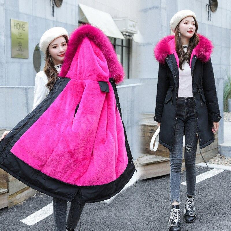 2019 coton Liner chaud manteau et imperméable veste femmes grande taille Long manteau femme hiver grande fourrure à capuche Parka Mujer manteaux 6XL