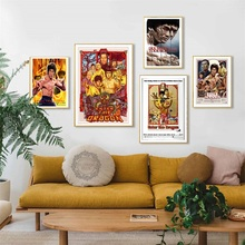 Classic Kung Fu Star Bruce Lee Enter The Dragon Classic Movie Vintage Art Painting Silk Canvas Poster Wall Home Decor wall hanging bruce lee kung fu dragon tapestry