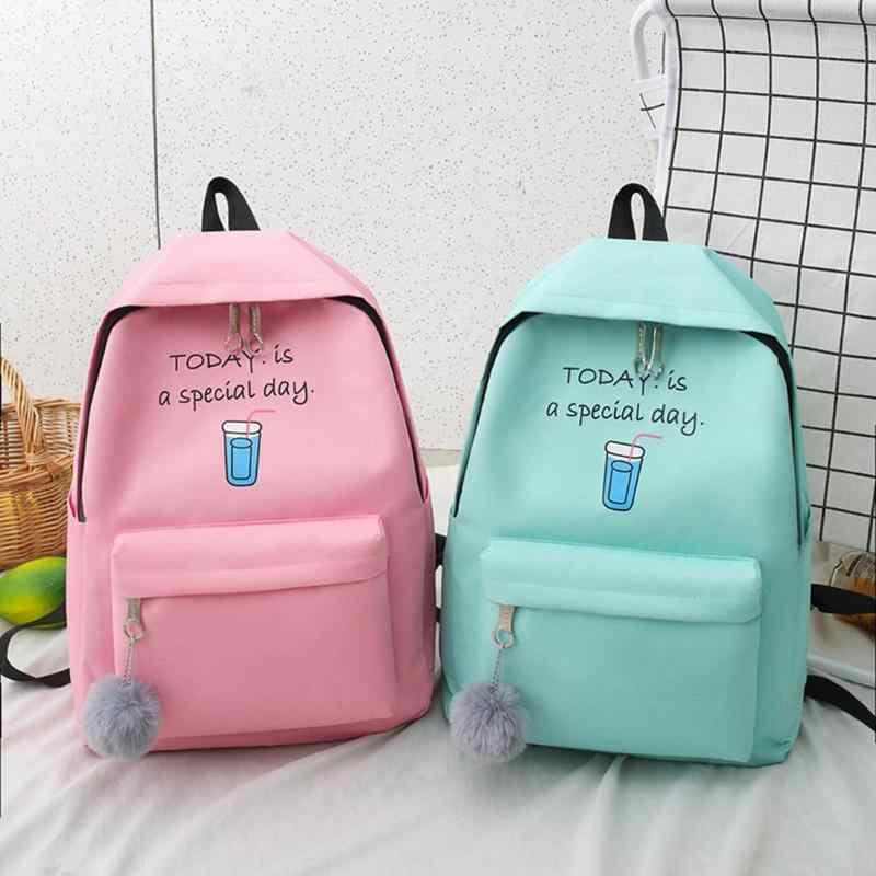 4 sztuk/zestaw nadruk w litery plecak płócienny piórnik dla nastoletnich dziewcząt Student Composite plecak kobiety Totes torebka mochilas