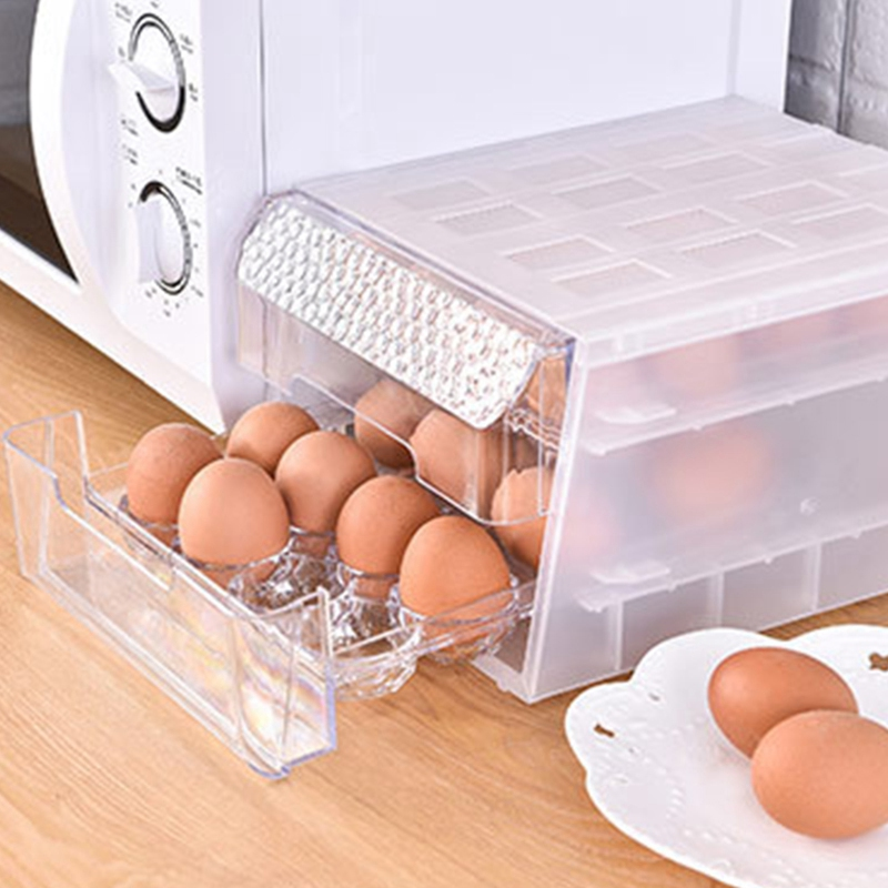 Double Layer Egg Holder Egg Food Container Organize Drawer Eggs Crisper Kitchen Products Refrigerator Eggs Boxes image