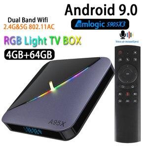 Image 1 - A95X F3 Android 9.0 Transpeed 8K procesor Amlogic S905X3 TV, pudełko 4K Youtube wifi 4GB 16GB 32GB 64GB światło RGB TV, pudełko