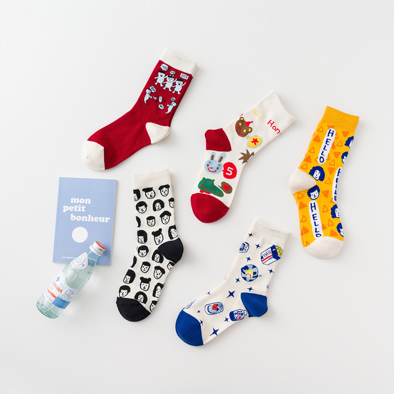 SP&CITY Ins Women Cartoon Cotton Socks Funny Patterned Unisex Skateboard Happy Socks High Quality Student Casual Hipster Sox