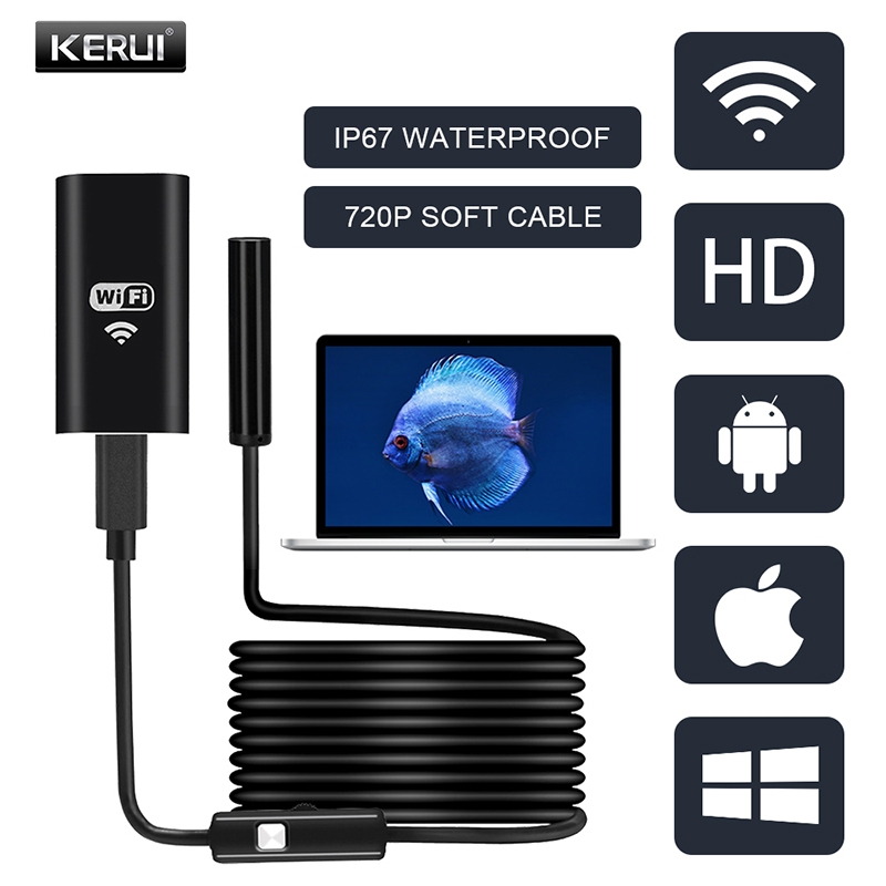 KERUI HD Endoscope Camera 720P WiFi Lens 8mm Soft Cable Wireless Inspection Waterproof Borescope For Android IOS Windows