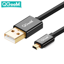 Qgeem Mini Usb Kabel Mini Usb Naar Usb Snelle Gegevens Charger Cable Voor Mobiele Telefoons MP3 MP4 Speler Gps Digitale camera Hdd Mini Usb