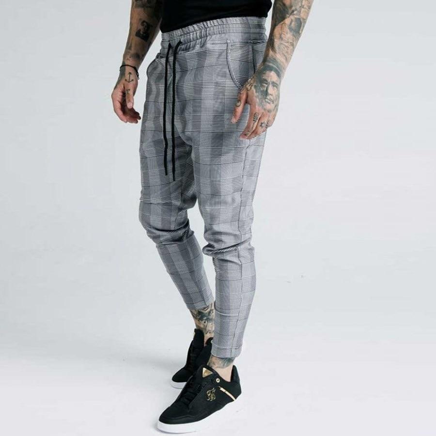 Mens Joggers Casual Skinny Plaid Pants Men Autumn Sweatpants Bottom Trousers Streetwear Brand Clothing Track Jogger Joggers Men