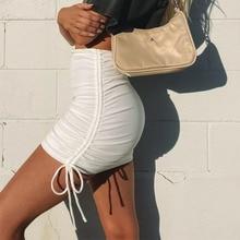 Women Skirt Streetwear Pleats Sexy Autumn White Korean-Fashion Solid Y2k Drawstring Side