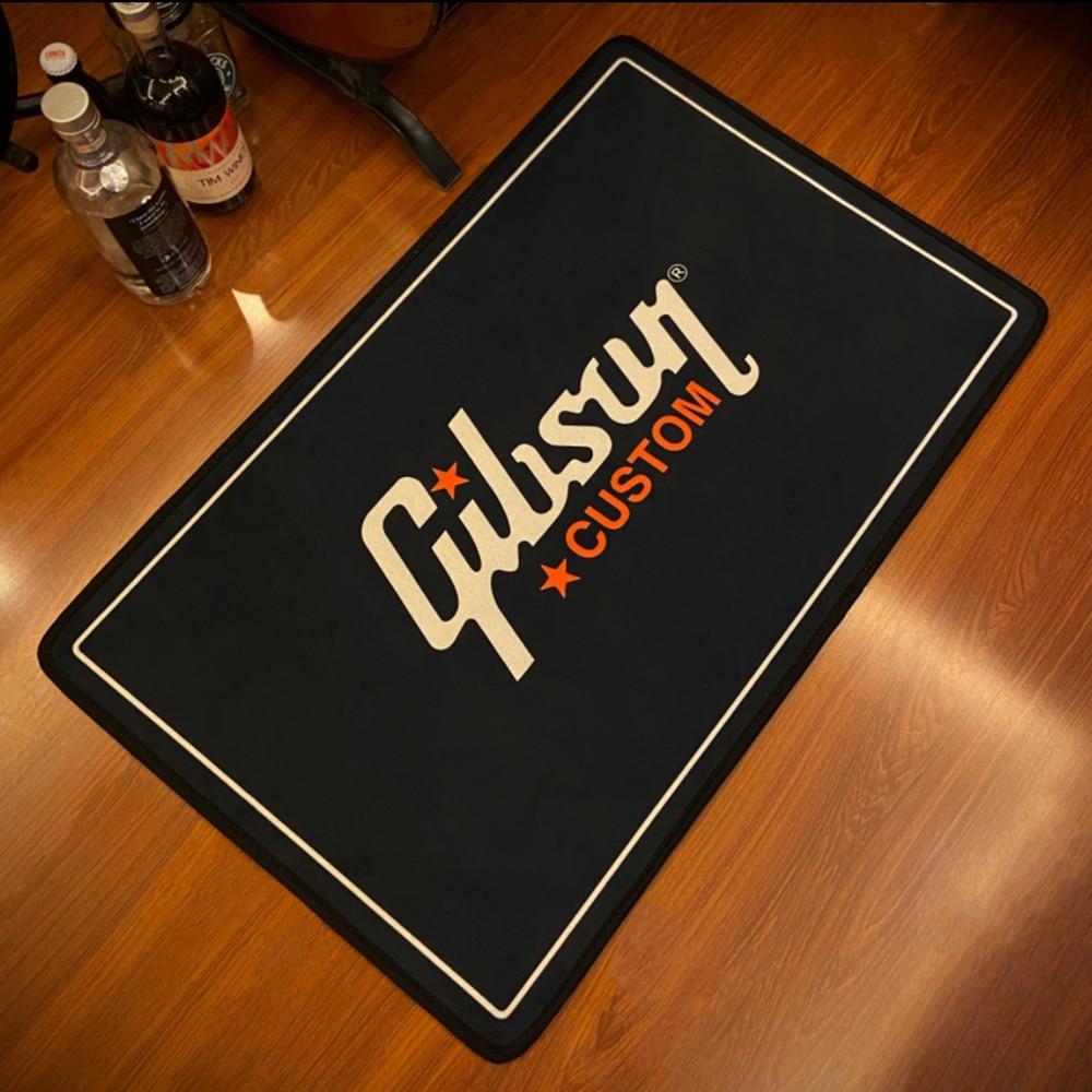 GIBSON Guitar Printed Music Flannel Area Rug Printed Room Bathroom Mat Floor Carpet For Living Room Bedroom Home Decoration