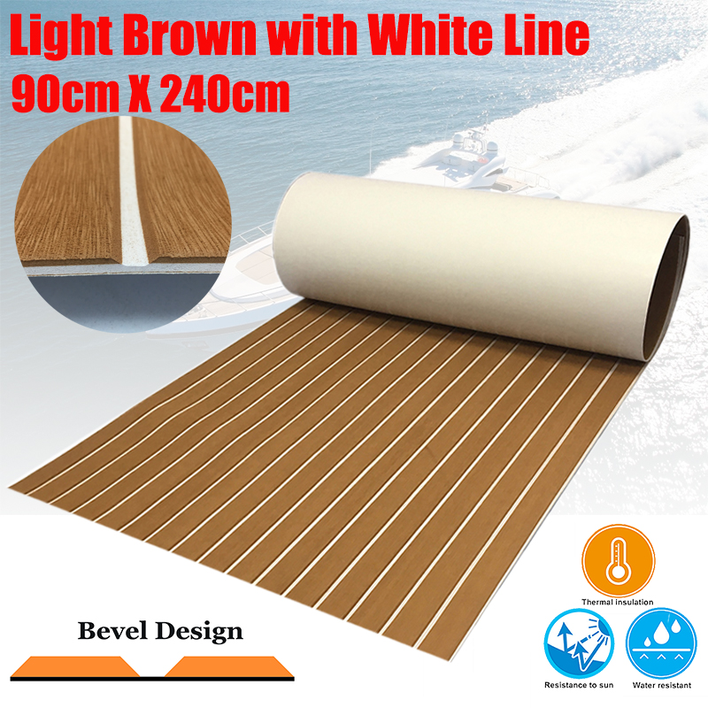EVA Foam Boating Teak Decking Sheet For Boat Yacht Marine Flooring Carpet 90cmX240cm Light Brown In White Boat Accessories