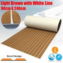 EVA Foam Boating Teak Decking Sheet For Boat Yacht Marine Flooring Carpet 90cmX240cm Light Brown In White Accessories