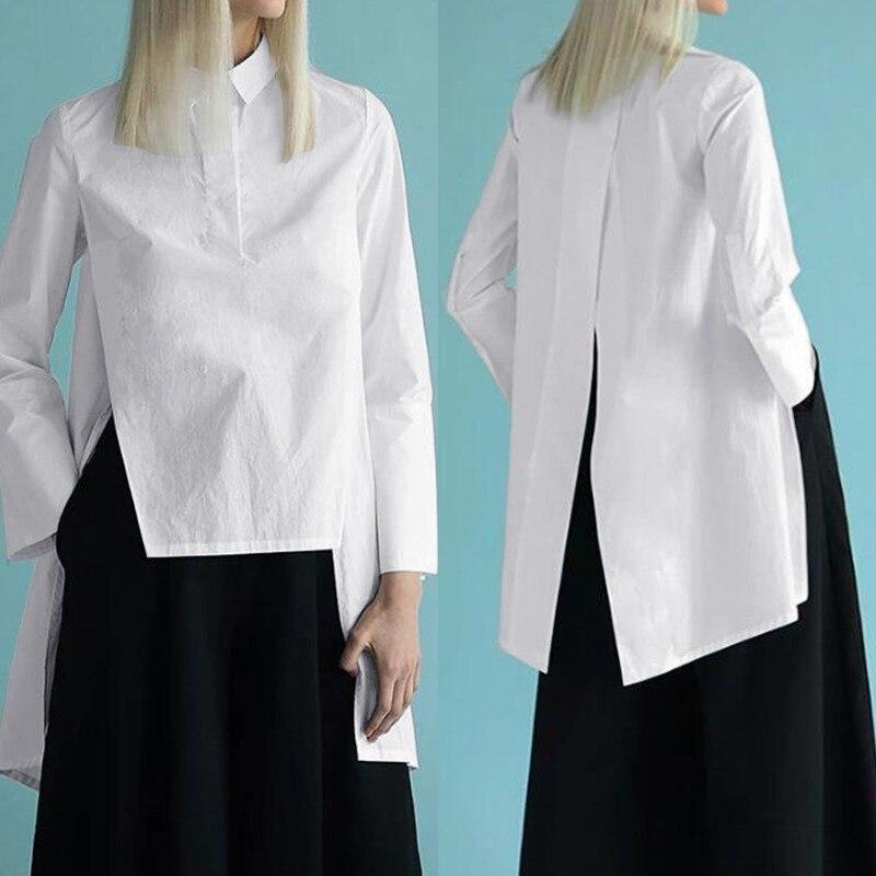 Fashion Asymmetrical Tops Women's Summer Blouse ZANZEA 2020 Casual Lapel Blusas Female Back Split Tops Long Sleeve Shirts S-5XL