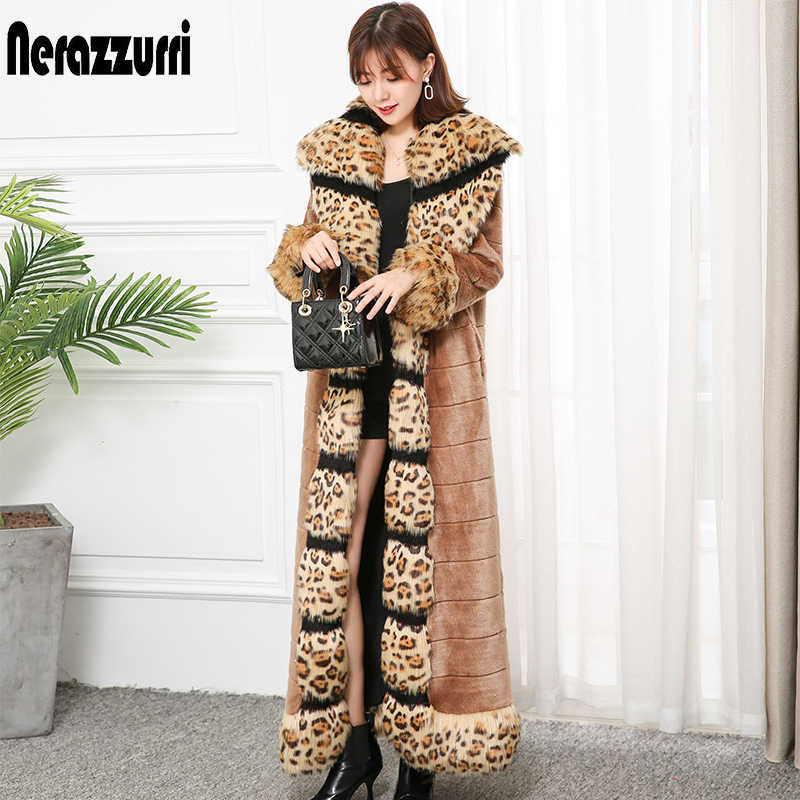 Nerazzurri x-long ฤดูหนาว faux fur coat leopard fox fur trim ยาว furry warm plus ขนาดปลอม mink fur overcoat