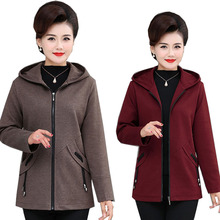 Middle-aged and Elderly Women's Coat 2020 New Spring Hooded Zipper Jacket Plus S