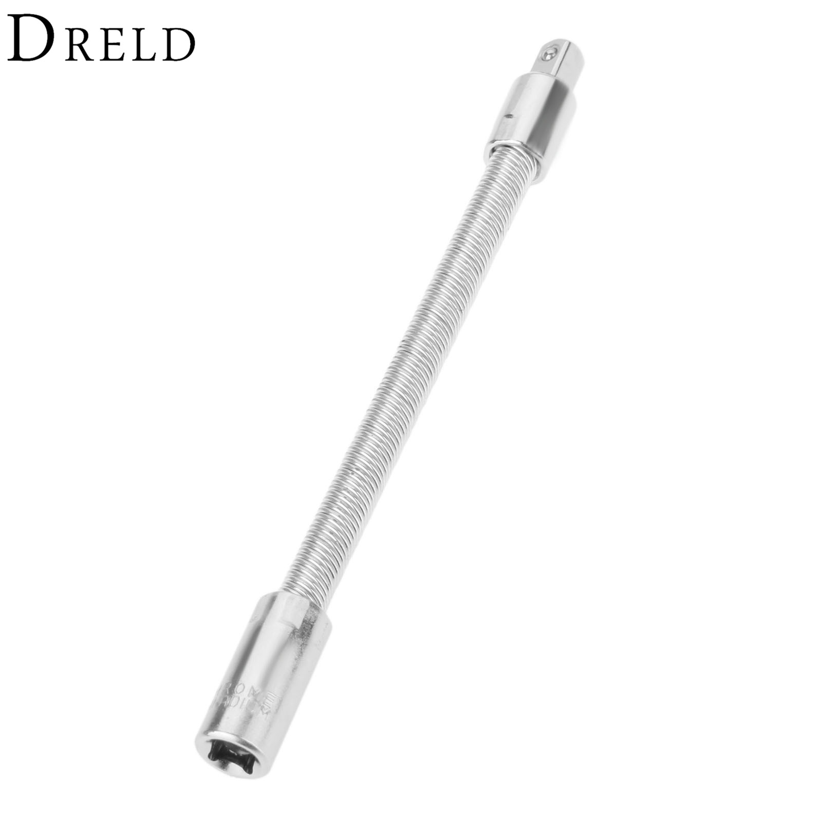 DRELD 1Pc 1/4 Inch 6.3MM Drive Socket Flexible Extension Bar 145mm Long Spring Flexi Socket Ratchet Mechanic Steel Shaft Tool