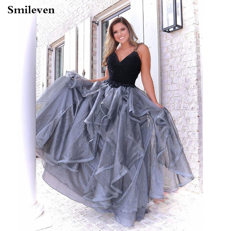 Smileven Lace Prom Dresses Spaghetti Straps Appliques Organza Long Backless Beaded Evening Gowns Formal Formal Party Gowns