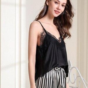 Image 3 - Pijama con borde de encaje para mujer, Sexy, con escote en V profundo, conjunto de pantalón largo con tirantes finos