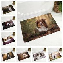 Australian Shepherd Flannel Carpet Floor Mat for Hallway Bedroom 40x60cm Dog Door Rug Non-Slip Decor Pet Animal Doormat