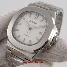 лучшая цена square 40mm bliger white dial sapphire glass date indicator Mechanical automatic mens watch B317