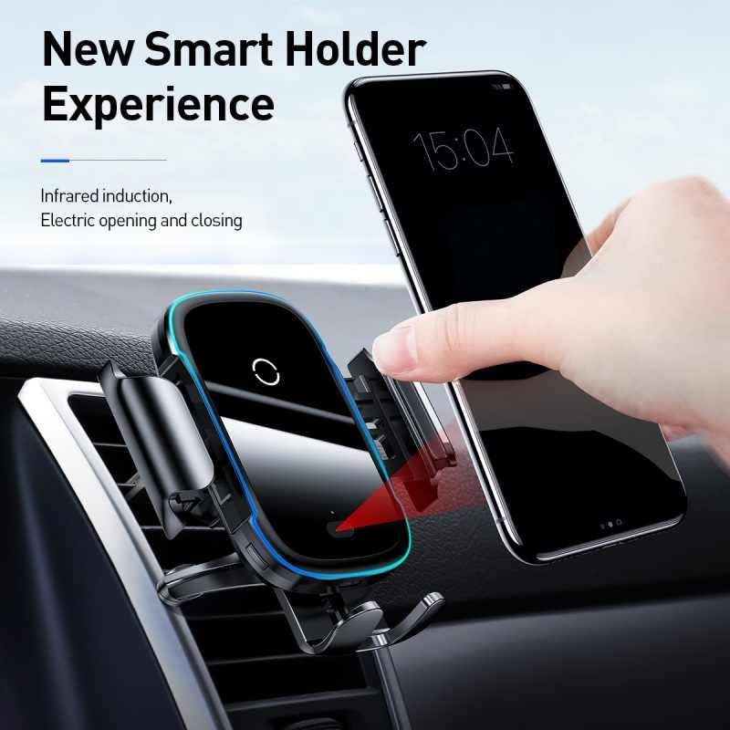 Chargeur de support pour téléphone de voiture Baseus pour iPhone 11 Pro Max Samsung chargeur de voiture sans fil Intelligent 15W Qi chargeur de voiture sans fil rapide