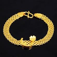 Золотой браслет для женщин песок золото браслеты цветок Очаровательная