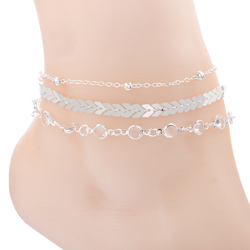3 Pcs/set Classic Anklet Multi-layer Fish Bone Chain Bead Crystal Foot Jewelry Summer Beach Women Anklets on Foot Ankle Bracelet