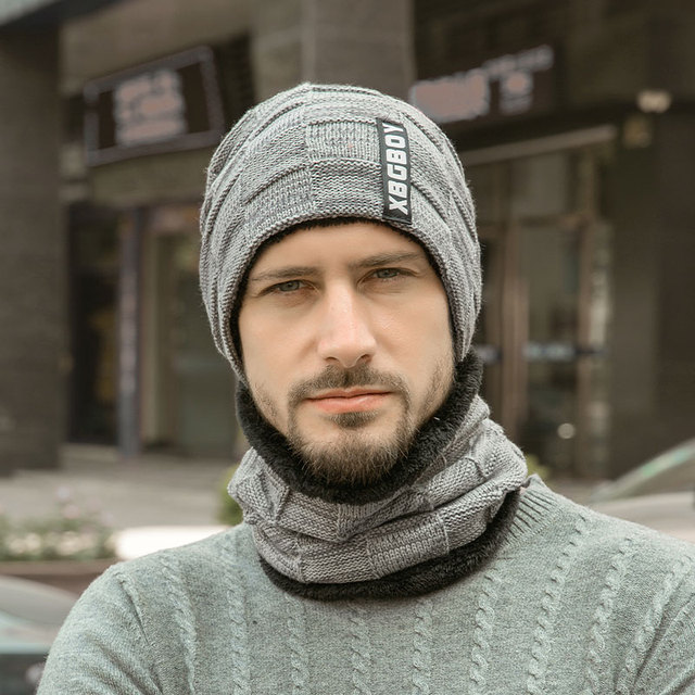 2019 Winter Beanie Hats Scarf Set Warm Knit Hat Skull Cap Neck Warmer with Thick Fleece Lined Winter Hat and Scarf for Men Women 3