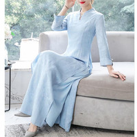Women V neck Dress Long Sleeve Vintage Dress Big Swing Elegant Princess Print Dress Autumn Slim Waist Dress