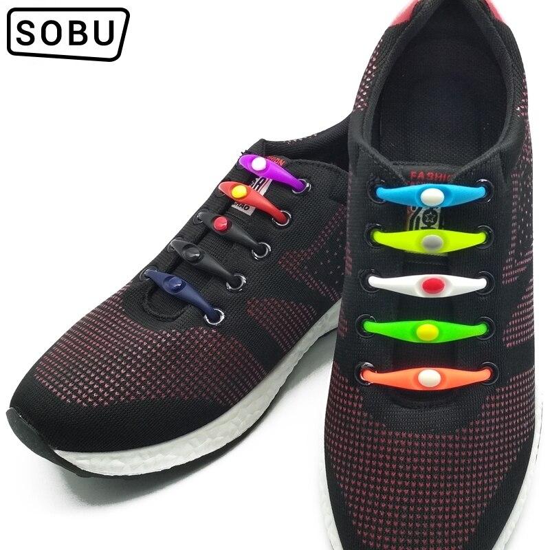 12 Pcs/lot New No Tie Silicone Shoe Laces Creative Elastic Shoelaces For Unisex Lace All Sneaker Suitable For Women Men G002