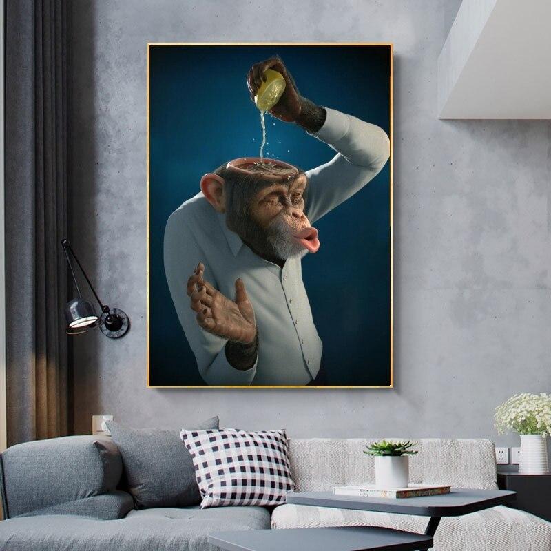 Современная забавная обезьянка холст настенные картины лимон