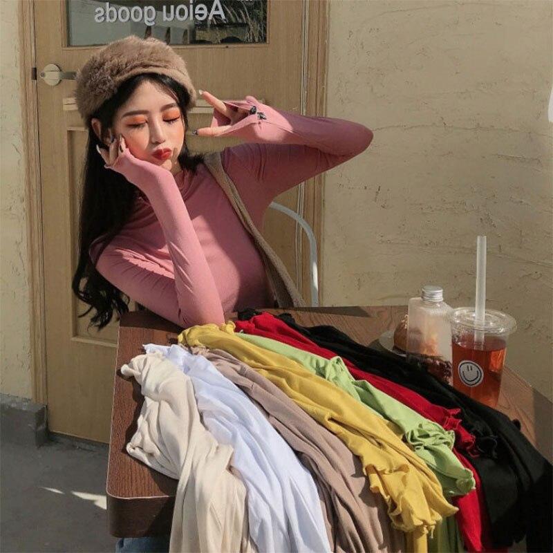 Новинка Осень-зима 2020, модная женская футболка с длинным рукавом, универсальная базовая утепленная рубашка, утепленная ФЛИСОВАЯ ФУТБОЛКА