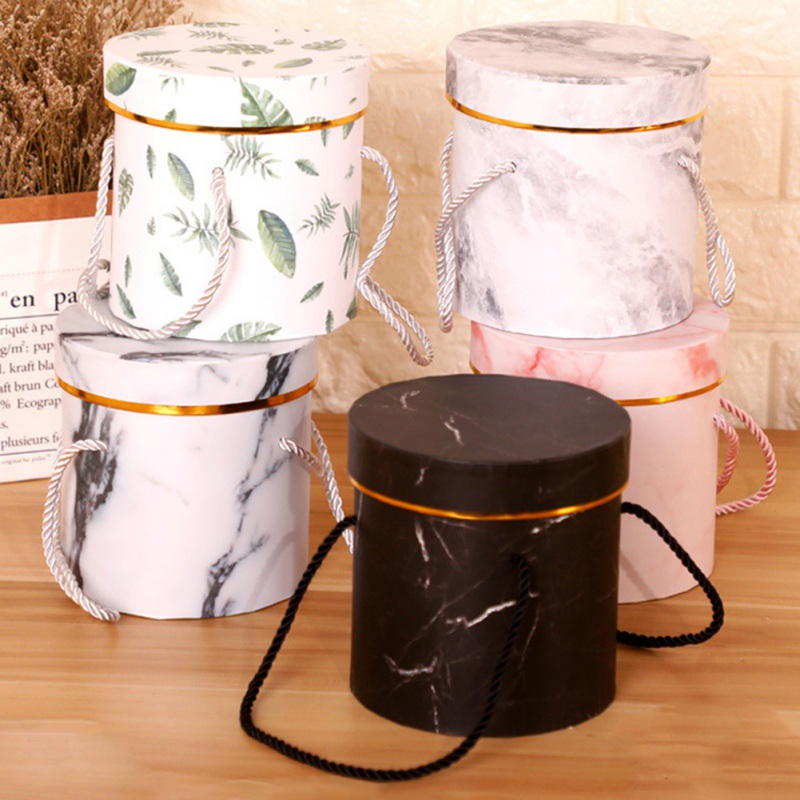 Marble Romantic Round Flower Box Gift Wrap Portable Small Flower Box With Rope Festive Party Supplies Gift Wrap Storage